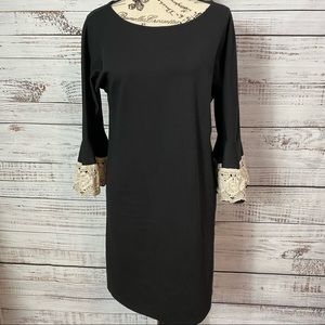UNCLE FRANK LACE  BELL SLEEVE BLACK DRESS